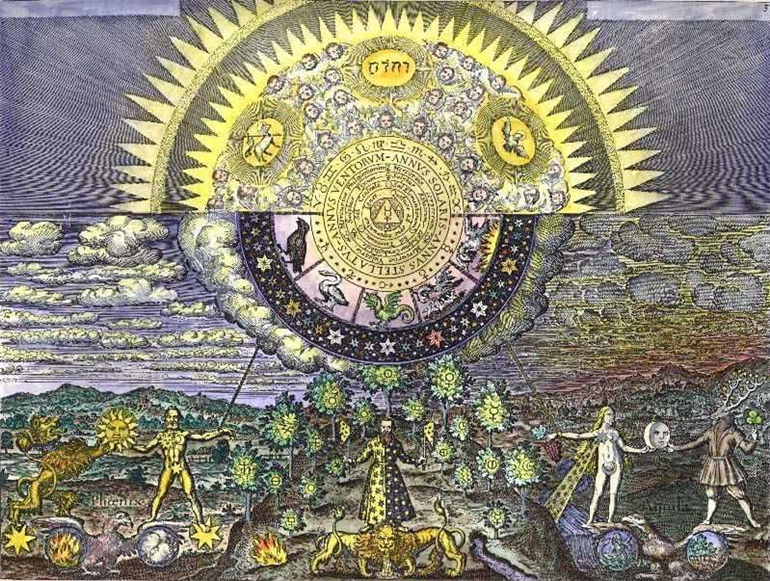 Alchemical Illustration of the Emerald Tables of Hermes
